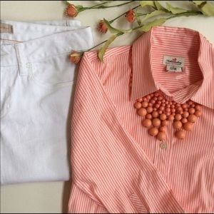 J. Crew 3/4 Sleeved Striped Button Down Shirt